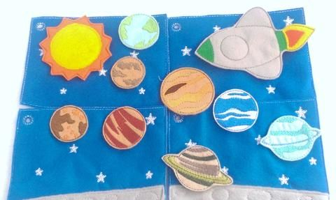 Space - planets play set for your favorite space lovers. This set has 4 pages tied together with a ribbon, the first page has a felt pocket on the back to hold all of the planets and space ship. Each