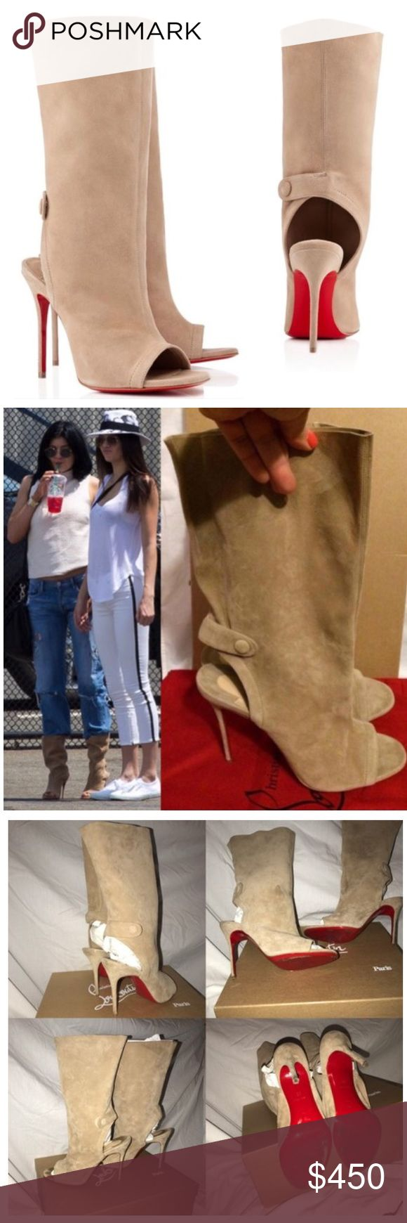 """LOUBOUTIN MISTINGUETRE SUEDE BOOTS SIZE EU 38/7.5 *SEEN ON KYLIE JENNER *Worn 3 times and stored. Box was lost but dust bags come with purchase. Minor wear to soles (ALL OF RED IS ON SOLES; clear sole protector on soles can be removed) ***minor flaw -toe imprints from walking; not noticeable when shoes are worn. Suede can be cleaned.*snap-tab at back.Mid-Calf Boots *SOLD OUT *100mm heel *SIZE: 38 EU/ US 7.5 (insole measures 9.5"""", Heel: 4 1/8"""")*GUARANTEED 100% AUTHENTIC! *Retail: $1,200.00**2…"""