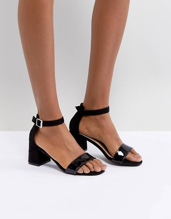 f0379c623e4 Glamorous Barely There Mid Heeled Block Sandal in Black