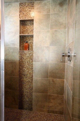 shower accent tile design - nice combination of large and small tiles
