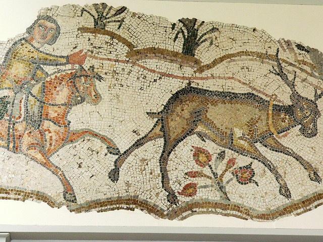 Late Roman mosaic fragment of horseman roping a deer from Carthage by mharrsch, via Flickr