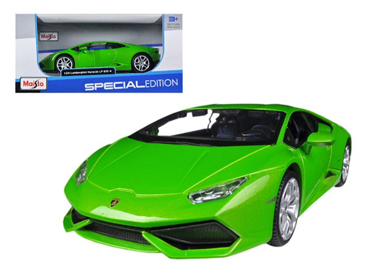 Lamborghini Huracan LP610-4 Green 1/24 Diecast Model Car by Maisto - Brand new 1:24 scale diecast model car of Lamborghini Huracan LP610-4 Green die cast car model by Maisto. Brand new box. Rubber tires. Detailed interior, exterior. Made of diecast with some plastic parts. Has opening doors and engine compartment. Dimensions approximately L-7.5, W-3.5, H-2.75 inches. Please note that manufacturer may change packing box at anytime. Product will stay exactly the same.-Weight: 2. Height: 6…