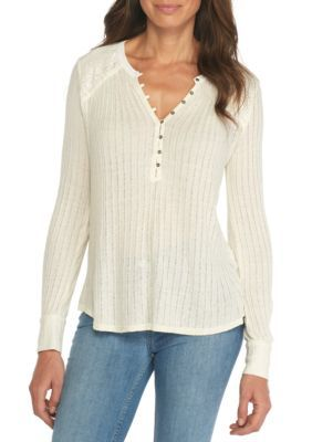 Lucky Brand Women's Embroidered Mixed Henley Top - Marshmallow - Xl