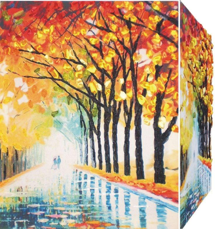 BOULEVARD 3D Ribbon embroidery on printed canvas with back woodden frame size: cm. 35x45 Price: € 150,00 $ code: P009