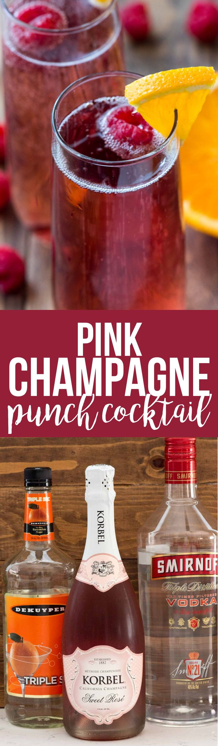 Pink Champagne Punch Cocktail is the perfect drink recipe for any occasion. Just three ingredients and it's pretty enough for a birthday, Christmas, or New Years Eve! via @crazyforcrust