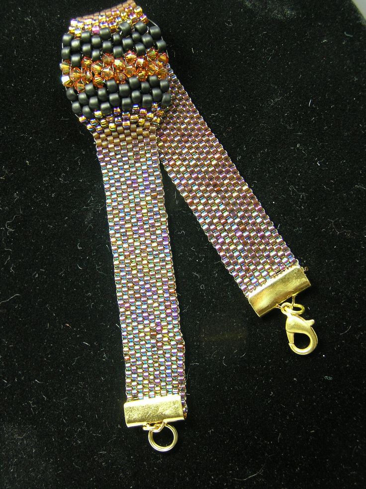 peyote stitched bracelet with integrated ring pattern from