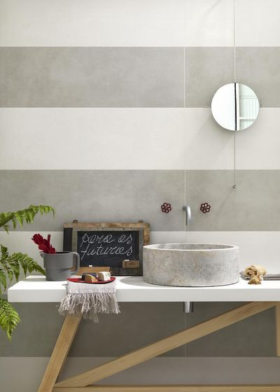 "Bold stripes in a neutral color palette Marazzi ""Oficina7"" large-format wall tiles #madeinitaly"