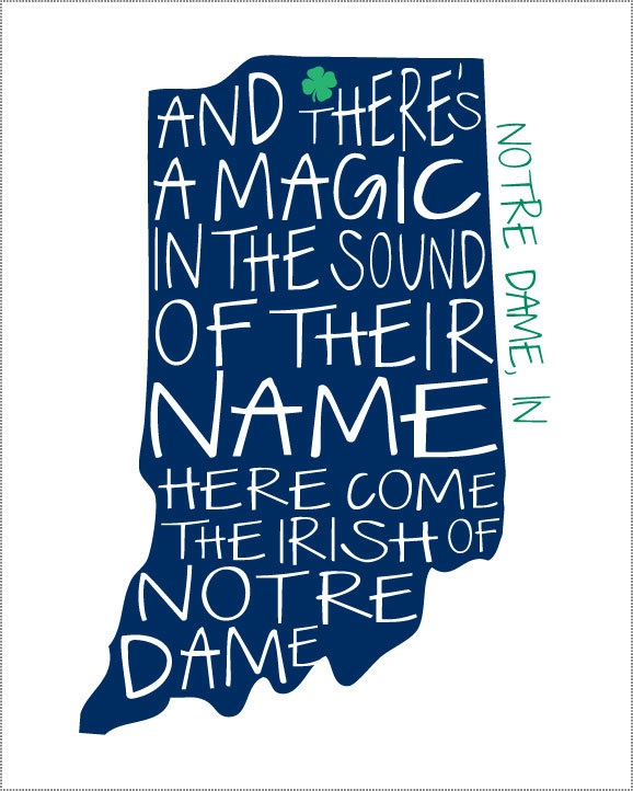 LOVE this:  Notre Dame Fighting Irish Print. $12.00, via Etsy.