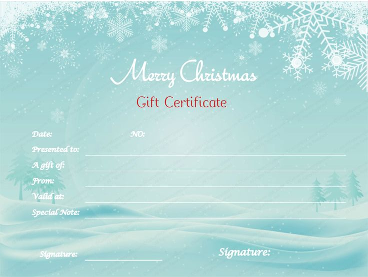 Best Beautiful Printable Gift Certificate Templates Images On - Diy christmas gift certificate template