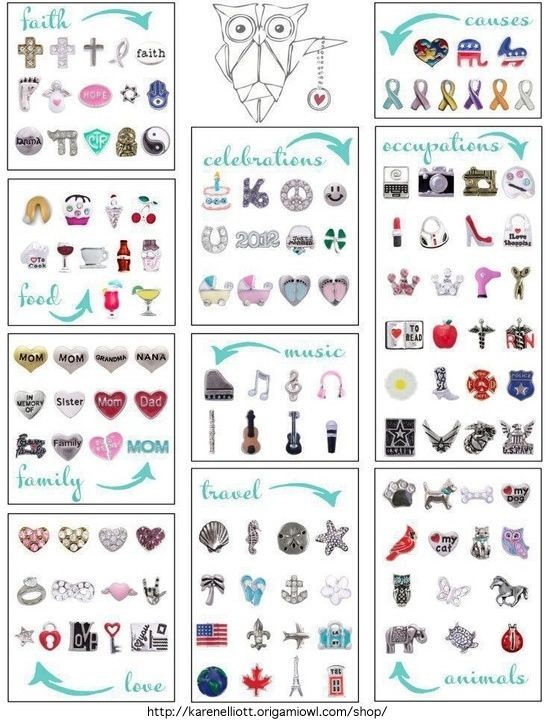 Origami Owl Charms!  Jenny B. Independent Designer #10975 JennySellsLockets@live.com  http://www.jennyb.origamiowl.com Be sure to Tell her Katie S. sent you!!!