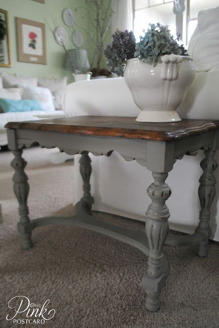Living Room Side Table updated with French Linen Chalk Paint® | Project feature on Noble Vintage