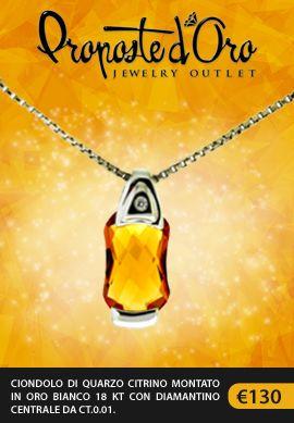 Ciondolo di #quarzo citrino montato in #oro bianco 18 kt con #diamante centrale da ct.0.01. #propostedoro #jewelryoutlet
