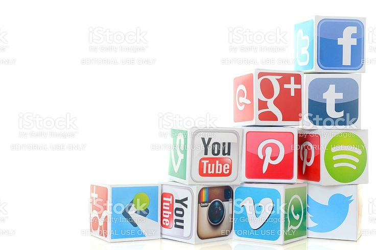 Social media icon cubes including Twitter and Facebook royalty-free stock photo