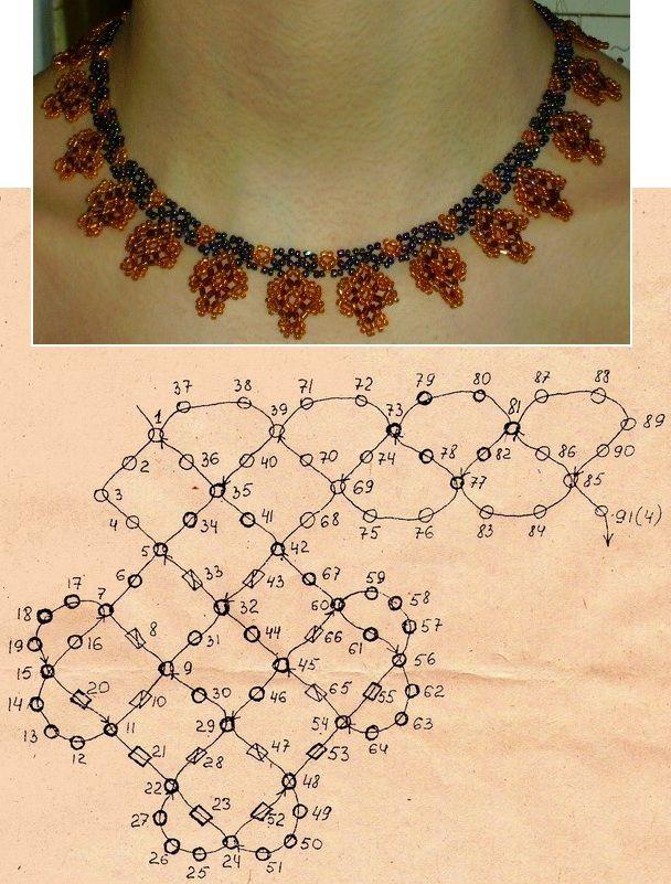 scheme of orange beaded necklace