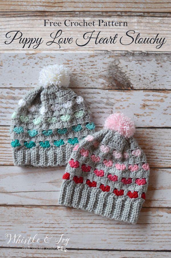 Crochet Puppy Love Heart Slouchy Hat--- free pattern