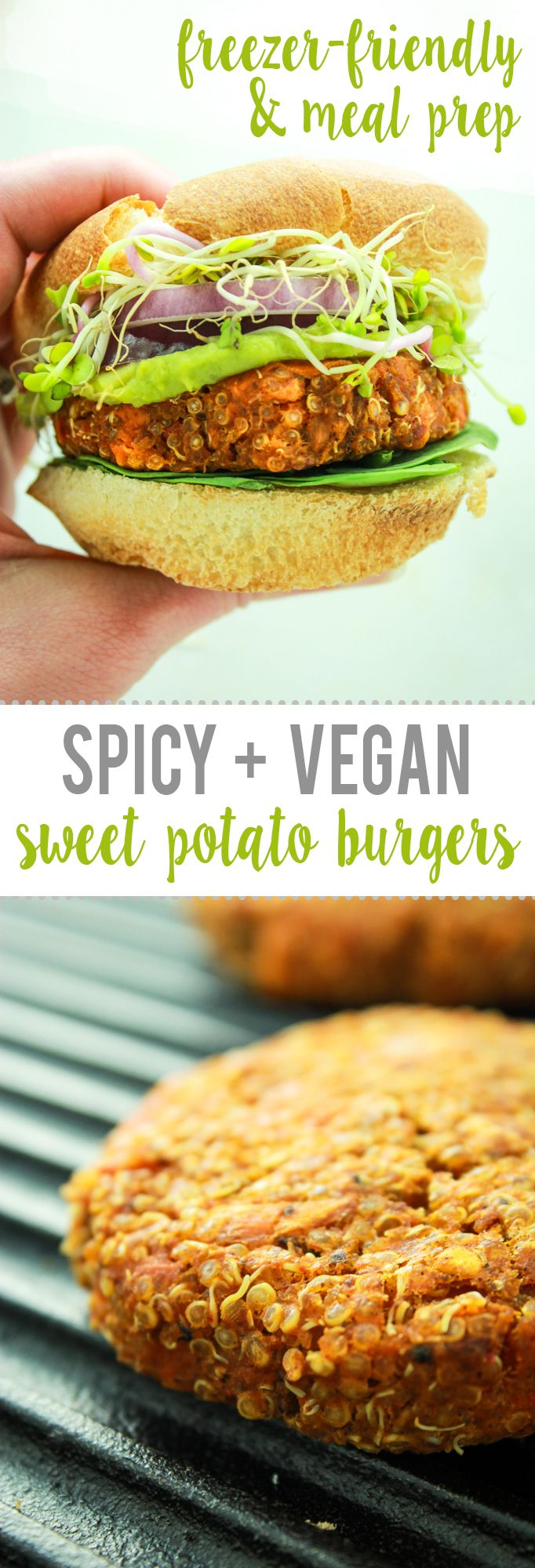 Spicy Sweet Potato Burgers – The PERFECT sweet potato burger. Prep takes 20 minutes, then bake and eat. OR – make in batches and freeze for later!