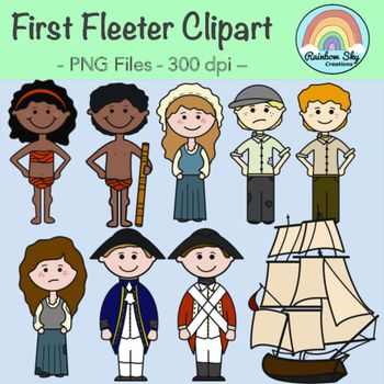 Teaching or creating resources about the First Fleet. First Fleeter Clipart - Included in this download are 18 graphics to support the First Contact - Stage 2 aspect of the Australian Curriculum.