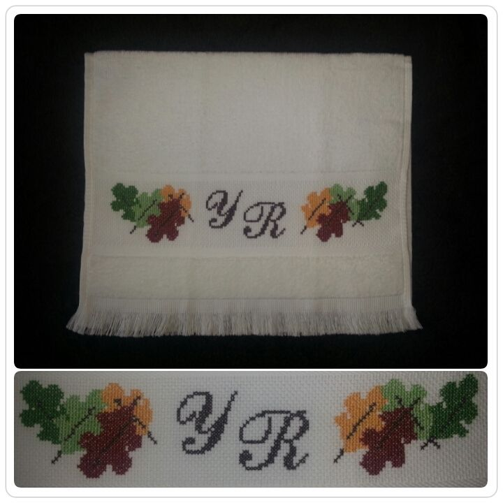 In Autumn mood!! Monogrammed fingertip towel, 100 % cotton - All cross stitch designs are customized - jymcreations@gmail.com. #Handmade #Crossstitch #Autumnleaves #Falldecor