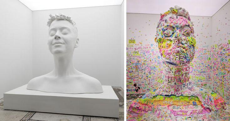 Художник из Швейцарии Урс Фишер вместе с певицей Кэти Перри создал скульптуру ее головы из пластилина.