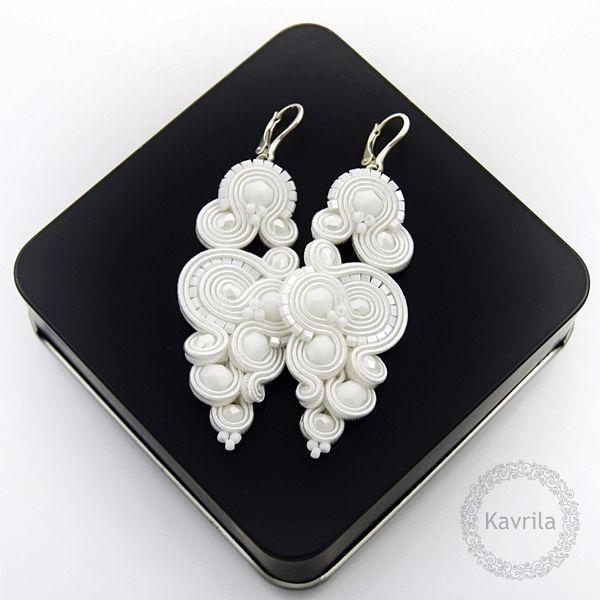 Renire white soutache - kolczyki ślubne sutasz KAVRILA #sutasz #kolczyki #ślubne #rękodzieło #soutache #handmade #earrings #wedding #white #kavrila