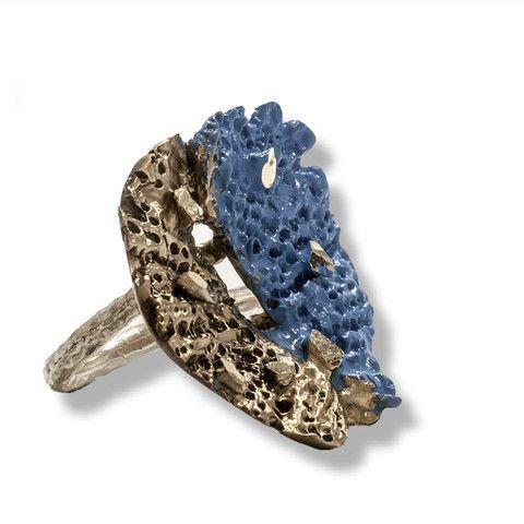 Handmade Bronze Blue Shimmering Flower Ring