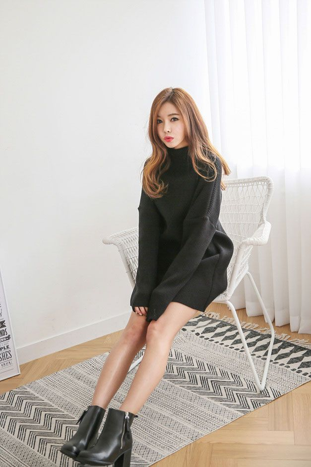 Ulzzang Weight: Side Cut Poloneck Knit Dress