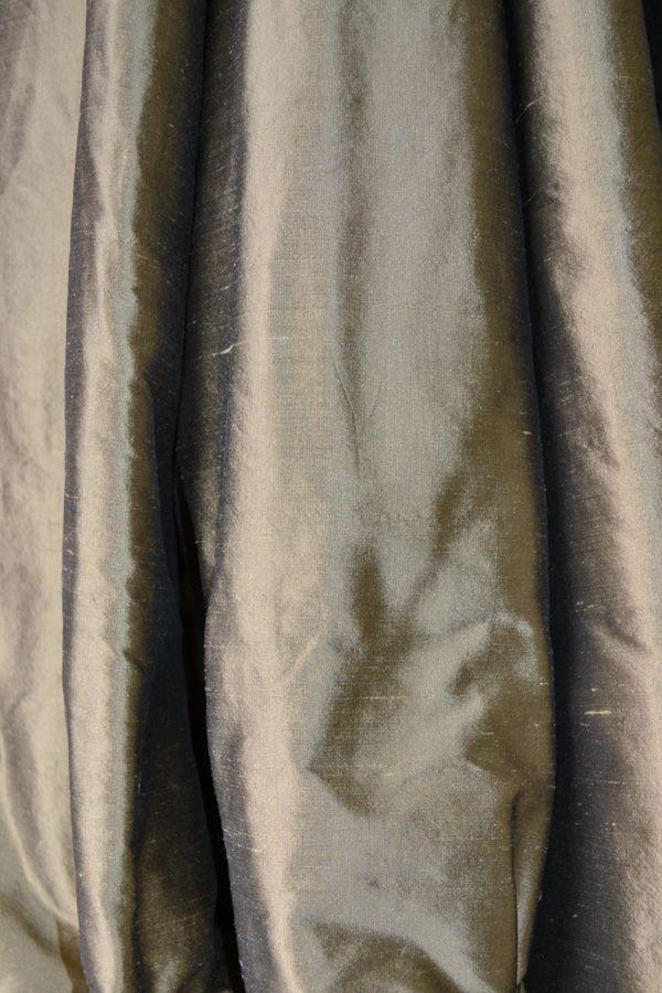 Pewter silk curtain