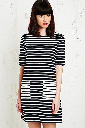 Petit Bateau Short Sleeve Breton Dress in Navy - Urban Outfitters