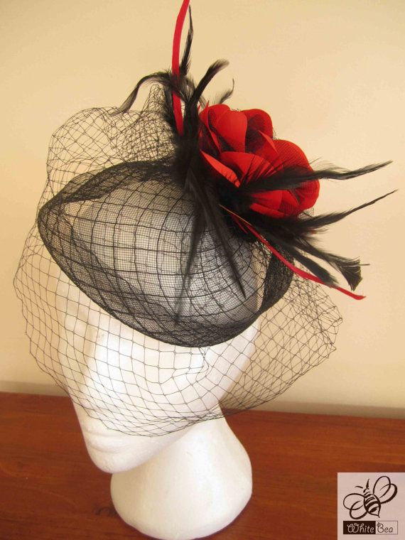 Red fascinator with red and black satin flower red and by WhiteBea