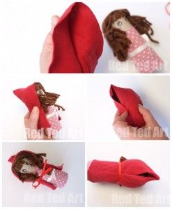Little Red Riding Hood TP Roll craft - making her (no sew) cape