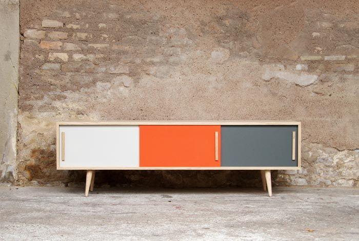 ENFILADE MEUBLE TV ESPRIT VINTAGE, CRÉATION GENTLEMEN DESIGNERS http://www.gentlemen-designers.fr/