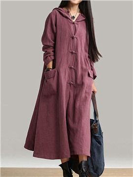 ericdress.com offers high quality  Ericdress Plain Hooded Pocket Maxi Dress Maxi Dresses unit price of $ 34.19.