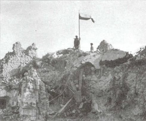 Polish flag atop Monte Cassino, 2nd Polish Corps