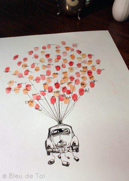 guest book idea. Would be easy...get away car is a Blue Bug....