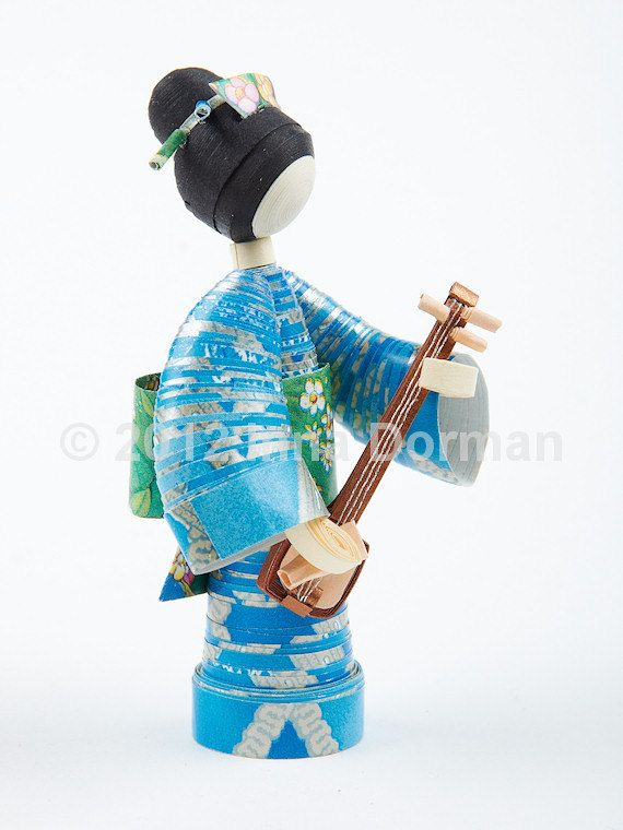 Japanese style paper doll with a shamisen. Collectible, one of a kind. Not a toy. $20.00, via Etsy.