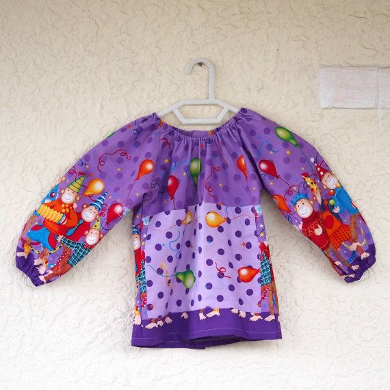 Art smock  S 2-4  Party Monkey by UtopiaHandmade on Etsy