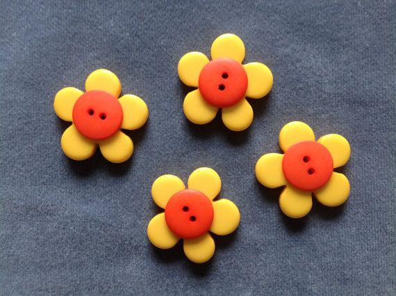 Yellow flower buttons w/ orange center by ascuteasabuttonshop