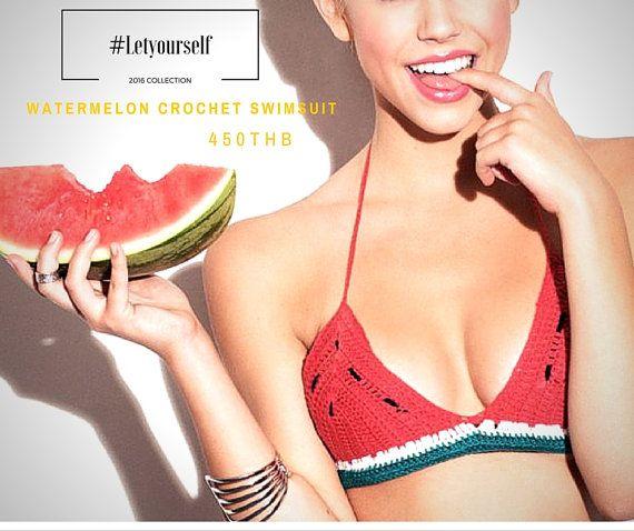 Watermelon crochet bikini halter Festival top  by LetYourSelf