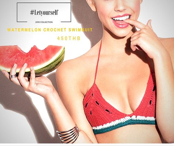 Watermelon crochet bikini halter Festival top  by LetYourSelf