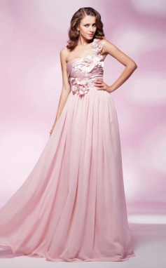 Sheath/Column One Shoulder Floor-length Chiffon And Elastic Woven Satin Evening Dress