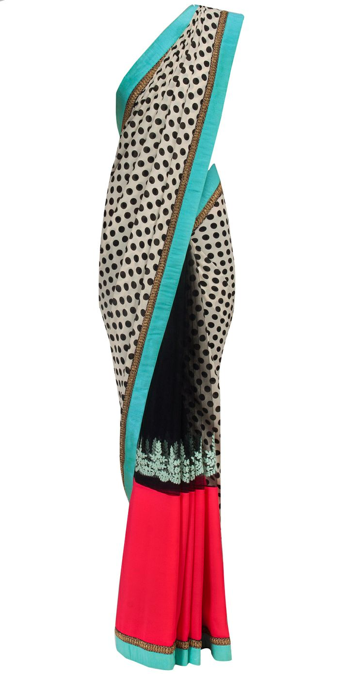 Ivory polka dots net and georgette sari by SABYASACHI.