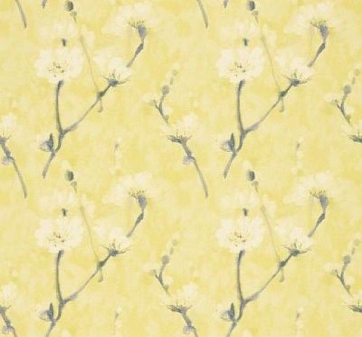 Eleni (213025) - Sanderson Wallpapers - A large scale design with elegant branches of almond blossoms with a hand painted effect printed on a tonal background. Shown in the Indian yellow colourway.  Vinyl wallcovering Please request sample for true colour match. Wide width product.