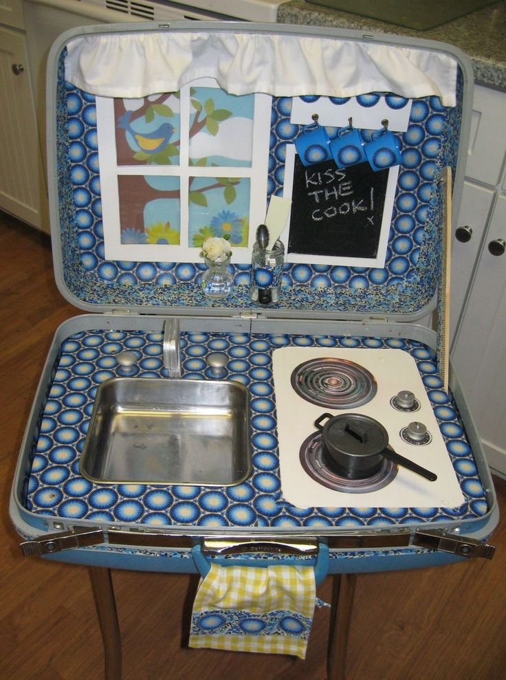DIY Play kitchen from old suitcase