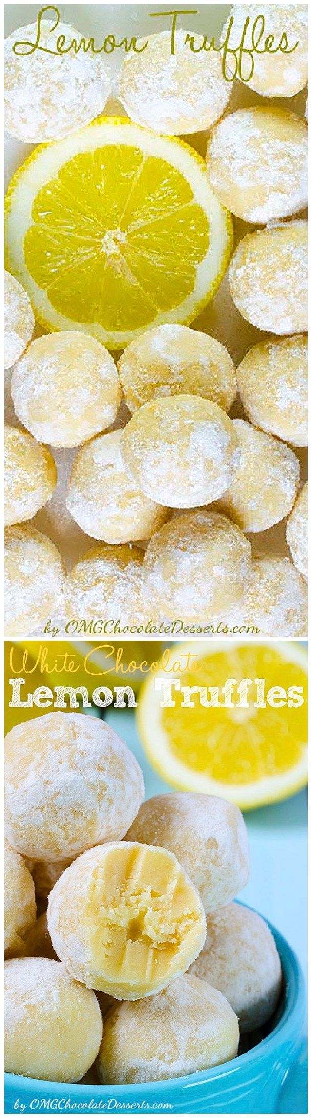 White Chocolate Lemon Truffles Recipe via OMG Chocolate Desserts - The BEST Easy Lemon Desserts and Treats Recipes - Perfect For Easter, Mother's Day Brunch, Bridal or Baby Showers and Pretty Spring and Summer Holiday Party Refreshments!