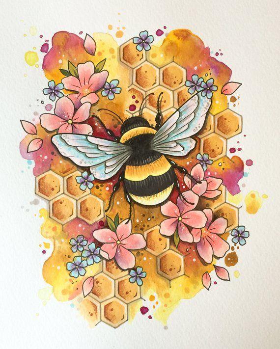 Bumble bee tattoo print, tattoo design, bee art print, honeybee decoration, bee keeper, watercolour painting, wildlife art, mothers day, eco