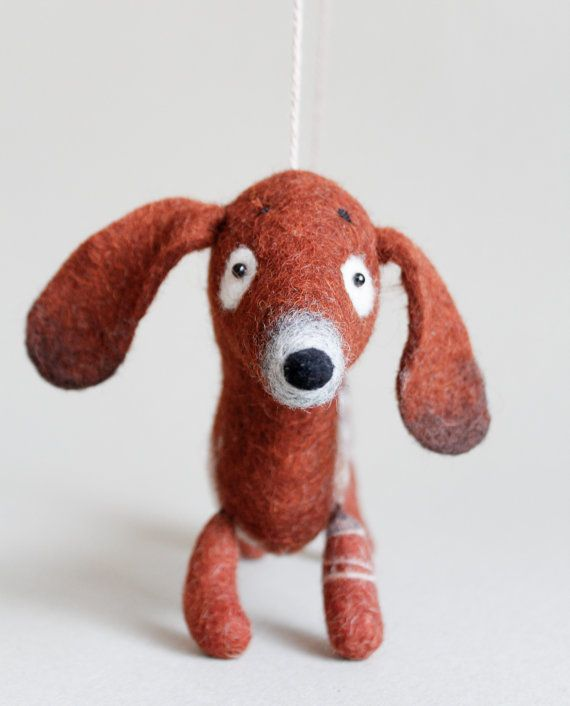 Soft Toy Dachshund  Napa Felted Toy gift  for kids Puppet