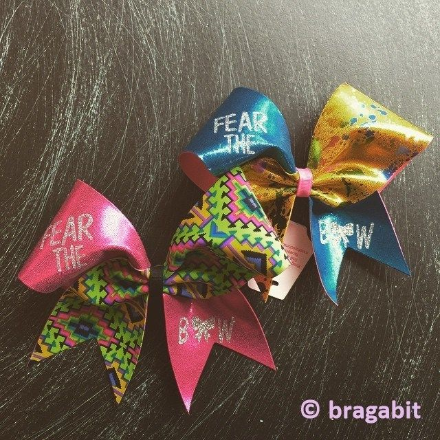 Multicolor cheer bow with glitter Fear the bow design.