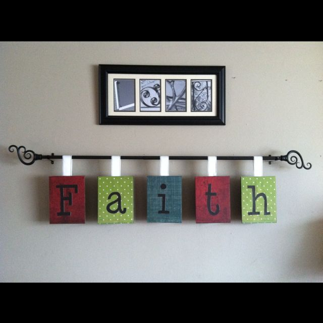 DIY wall decor - curtain rod in the middle of the wall & hang words or art, genius!