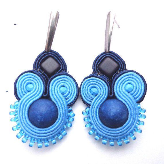 Soutache blue earrings with matte jade by Lolissa on Etsy