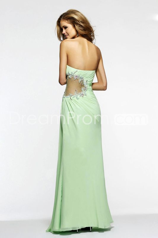 Sexy Prom Dress Column Ruffled Bodice Beaded Floor Length With Slit